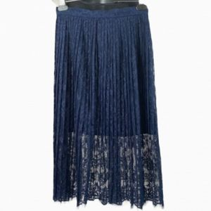 H&M Skirt Blue Lace Midi Pleated Dressy